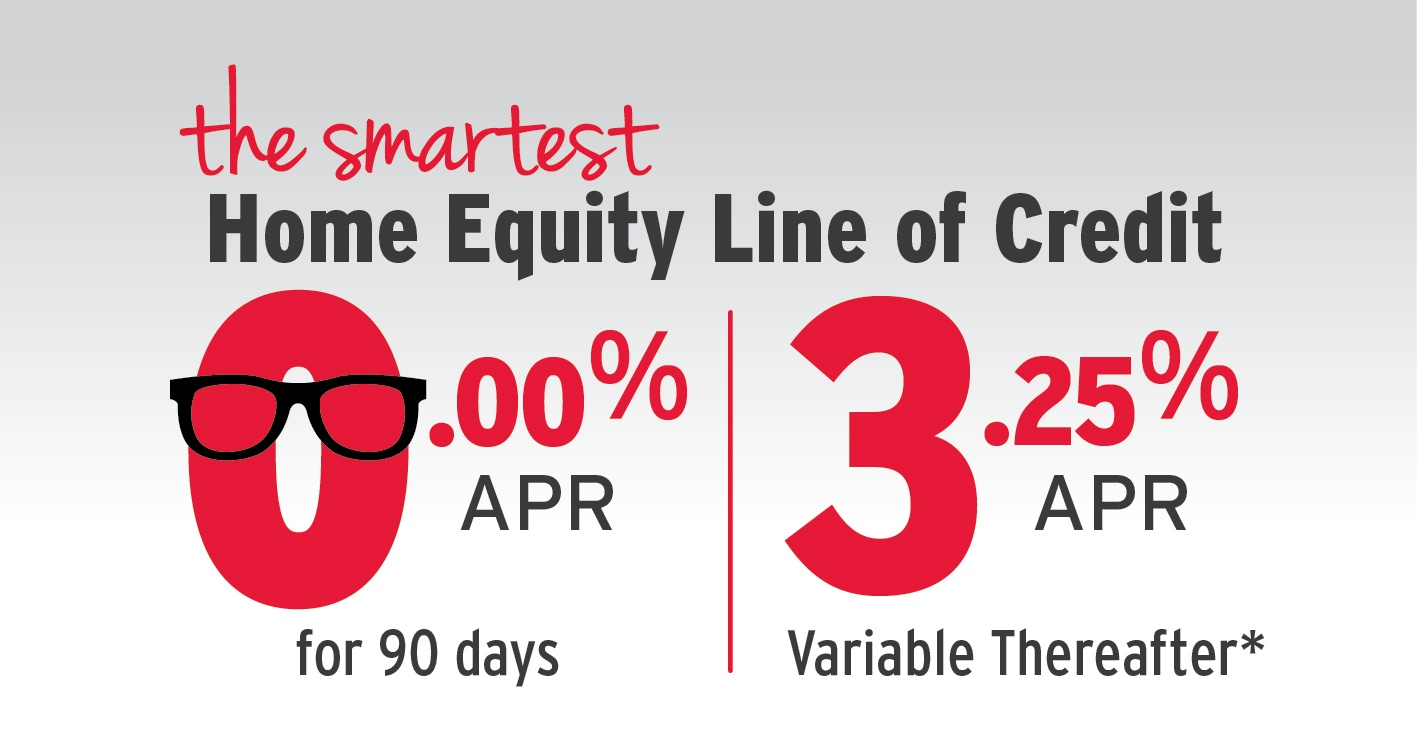 The smartest Home Equity Line of Credit 0.00% APR for 90 days, 4.25% APR variable thereafter